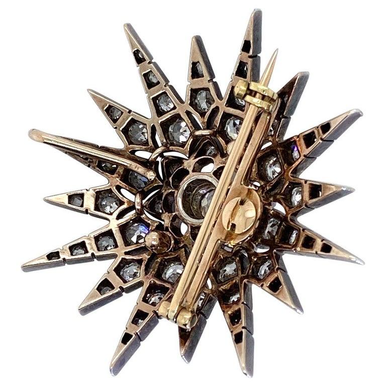 Victorian 2.80 Carat Diamond Eight Point Starburst Pin / Pendant For Sale 5