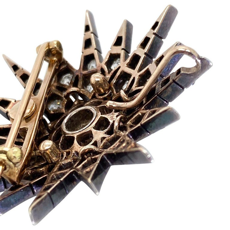 Victorian 2.80 Carat Diamond Eight Point Starburst Pin / Pendant For Sale 7