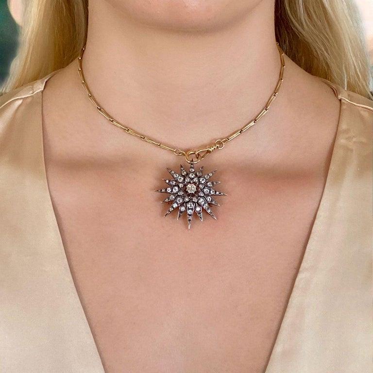 Victorian 2.80 Carat Diamond Eight Point Starburst Pin / Pendant For Sale 9