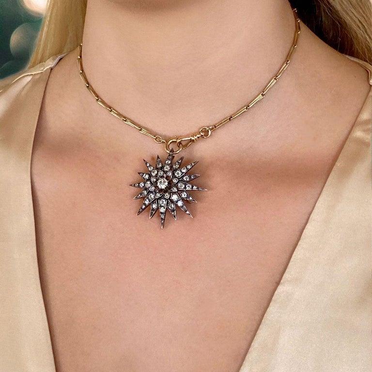 Victorian 2.80 Carat Diamond Eight Point Starburst Pin / Pendant For Sale 10