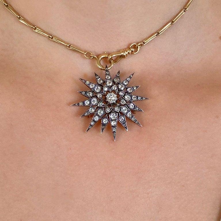 Victorian 2.80 Carat Diamond Eight Point Starburst Pin / Pendant For Sale 11