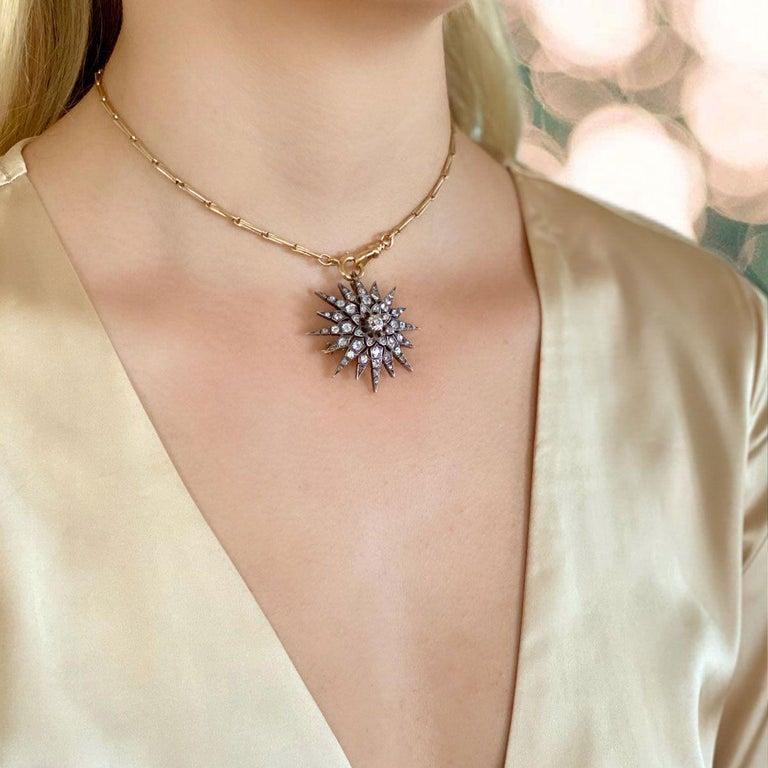 Victorian 2.80 Carat Diamond Eight Point Starburst Pin / Pendant For Sale 12