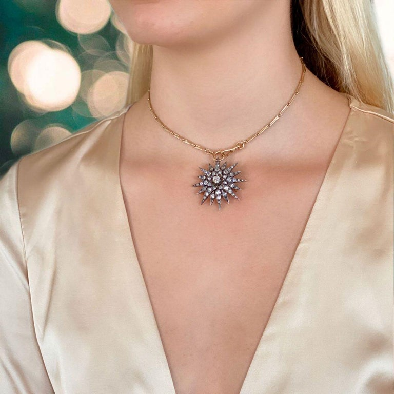 Victorian 2.80 Carat Diamond Eight Point Starburst Pin / Pendant For Sale 13