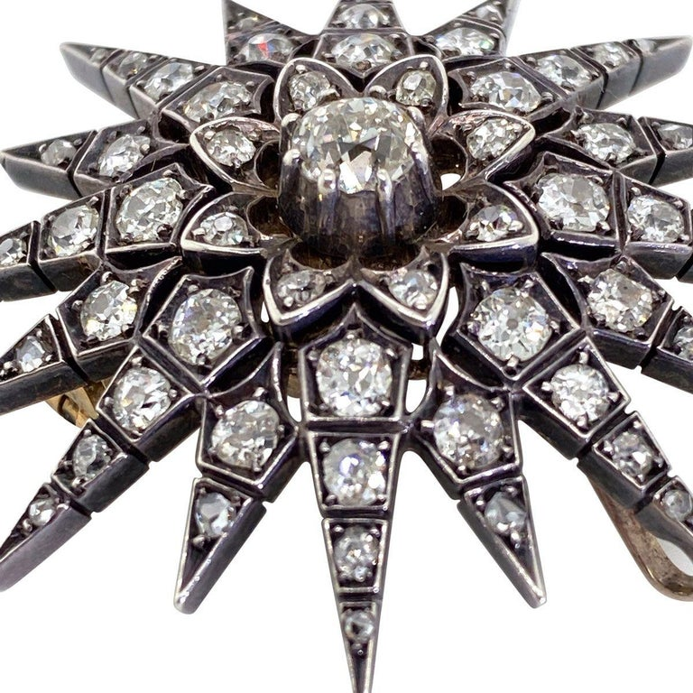 Delightful is the first thing that comes to mind when you lay eyes on this stunning original Victorian Starburst. Designed to be worn in two ways, firstly as a pin or the pin can be removed and worn as an eye-catching pendant. The style is very