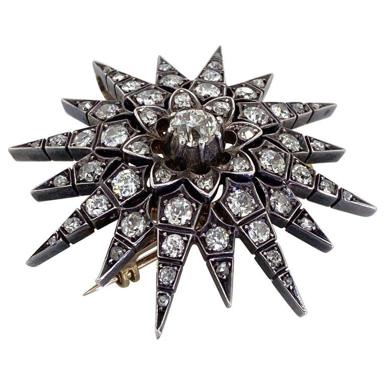 Women's Victorian 2.80 Carat Diamond Eight Point Starburst Pin / Pendant For Sale