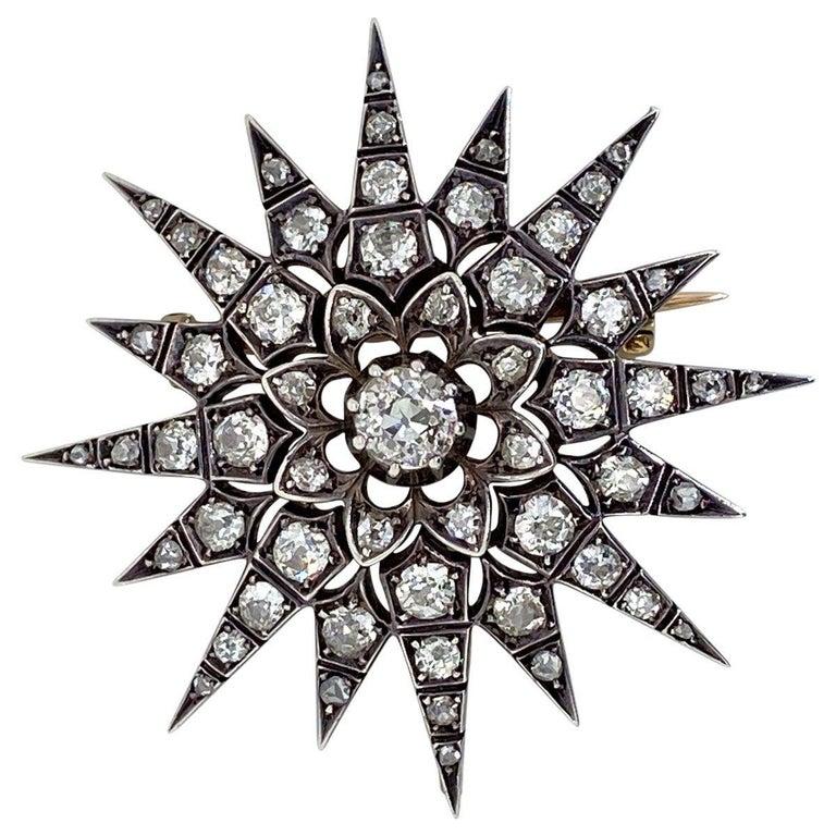 Victorian 2.80 Carat Diamond Eight Point Starburst Pin / Pendant For Sale 1