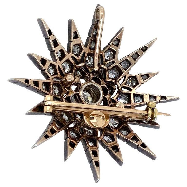 Victorian 2.80 Carat Diamond Eight Point Starburst Pin / Pendant For Sale 2