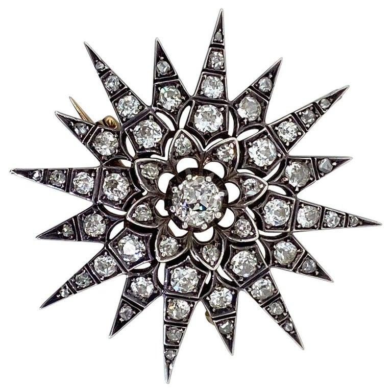 Victorian 2.80 Carat Diamond Eight Point Starburst Pin / Pendant For Sale 3