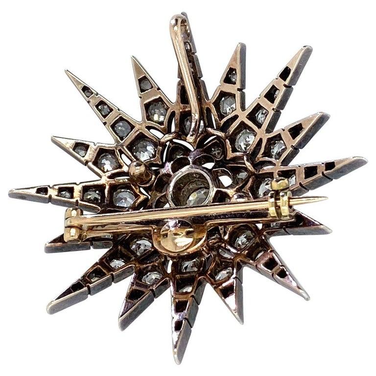 Victorian 2.80 Carat Diamond Eight Point Starburst Pin / Pendant For Sale 4