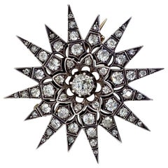 Victorian 2.80 Carat Diamond Eight Point Starburst Pin / Pendant