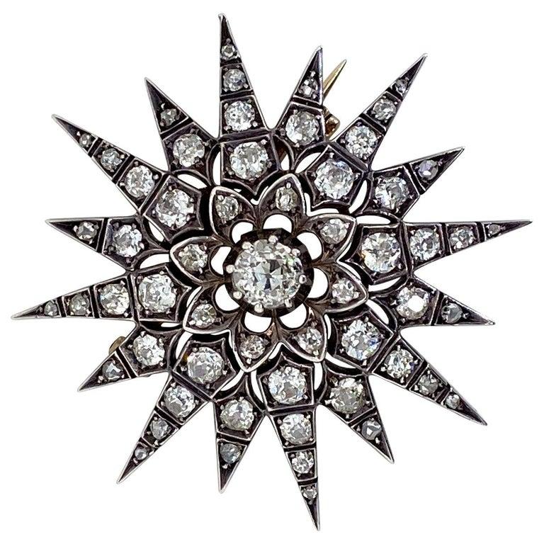 Victorian 2.80 Carat Diamond Eight Point Starburst Pin / Pendant For Sale