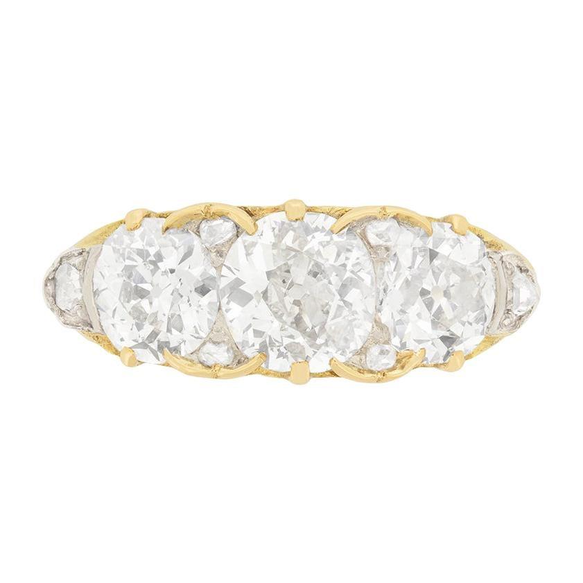 Victorian 2.80 Carat Rose Cut Diamond Three-Stone Engagement Ring, circa 1880s