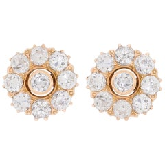 Victorian 2.80 Carat Flower Motif Diamond Earrings, circa 1900s