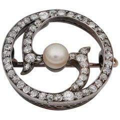 Victorian 2.90 Carat Old Mine Diamond Natural Pearl Brooch Pendant
