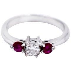 Victorian, 3-Stone European Diamond, Ruby Ring