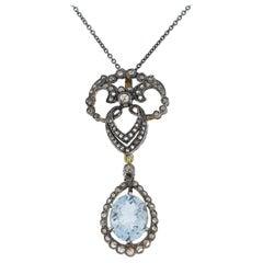 Victorian 3.00 Carat Aquamarine and Diamond Pendant Necklace