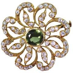 Victorian 3.00 Carat Green Sapphire and 3.50 Carat Old Cut Diamond Brooch