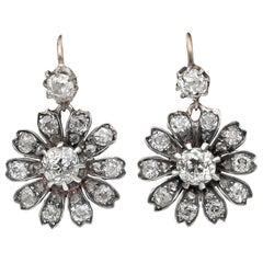 Victorian 3.00 Carat Old mine Diamond Prettiest Flower Drop Earrings