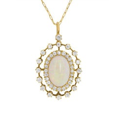 Victorian 3.00 Carat Opal and Diamond Pendant, circa 1900s