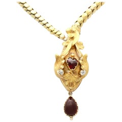 Victorian 3.06 Carat Garnet and Diamond Yellow Gold Snake Necklace