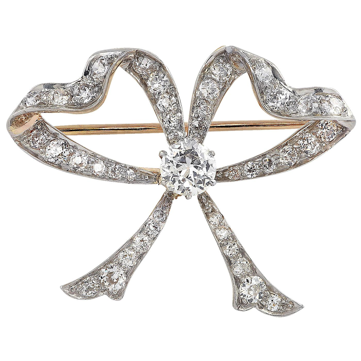 Victorian 3.1 Carat Diamond Bow Brooch Pin