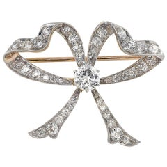 Victorian 3.1 Carat Diamond Bow Brooch Pin