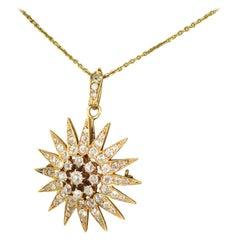 Victorian 3.15 Carat Old Cut Diamond Star Pendant / Brooch