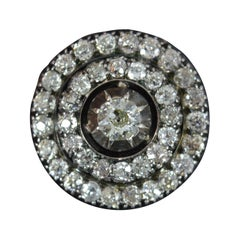 Victorian 3.15ct Old Cut Diamond 18ct Gold Circular Brooch