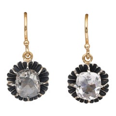 Victorian 3.20 Carat Cushion Diamond Dormeuse Earrings