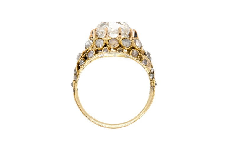 Victorian 3.20 Carat GIA Old European Cut Diamond Engagement Ring In Good Condition For Sale In New York, NY