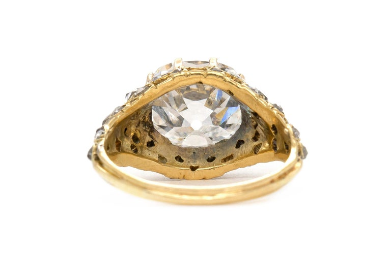 Women's Victorian 3.20 Carat GIA Old European Cut Diamond Engagement Ring For Sale