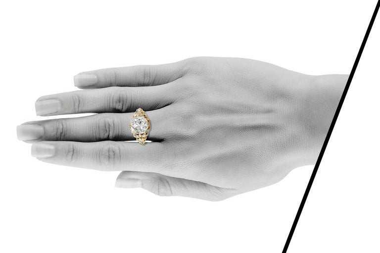 Victorian 3.20 Carat GIA Old European Cut Diamond Engagement Ring For Sale 1