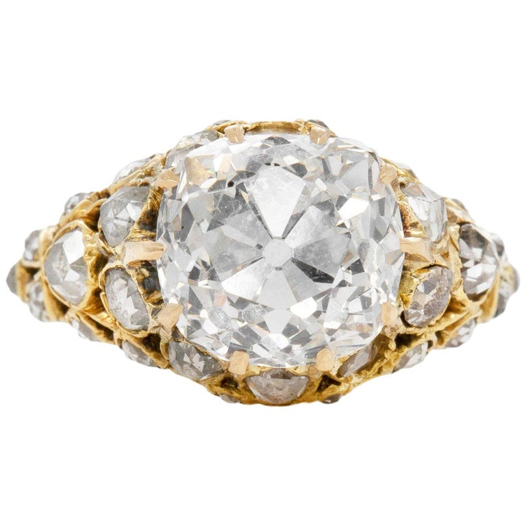 Victorian 3.20 Carat GIA Old European Cut Diamond Engagement Ring For Sale