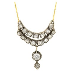 Victorian 3.25 Total Carat Diamond Multi-Link Pendant Necklace