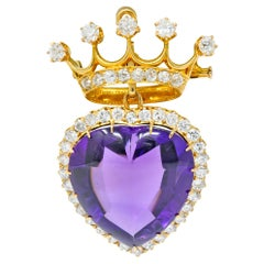 Victorian 3.30 Carat Amethyst Diamond 18 Karat Gold Crowned Heart Pendant Brooch