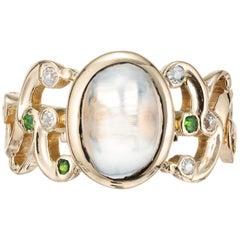 Victorian 3.30 Carat Moonstone Garnet Diamond Yellow Gold Ring