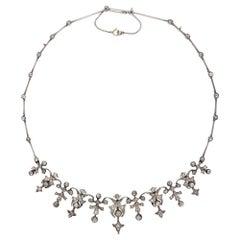 Victorian 3.32 Carat Diamond and 14 Karat Gold Silver Necklace, circa 1880