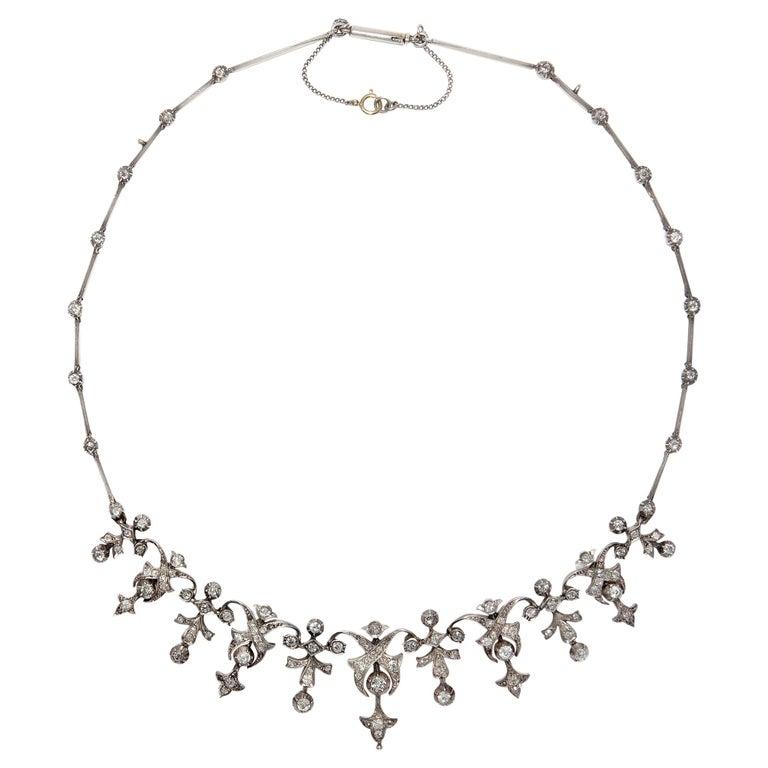 Victorian 3.32 Carat Diamond and 14 Karat Gold Silver Necklace, circa 1880 For Sale