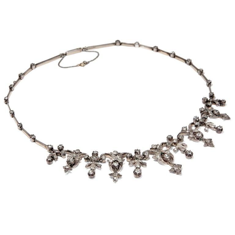 Round Cut Victorian 3.32 Carat Diamond and 14 Karat Gold Silver Necklace, circa 1880 For Sale
