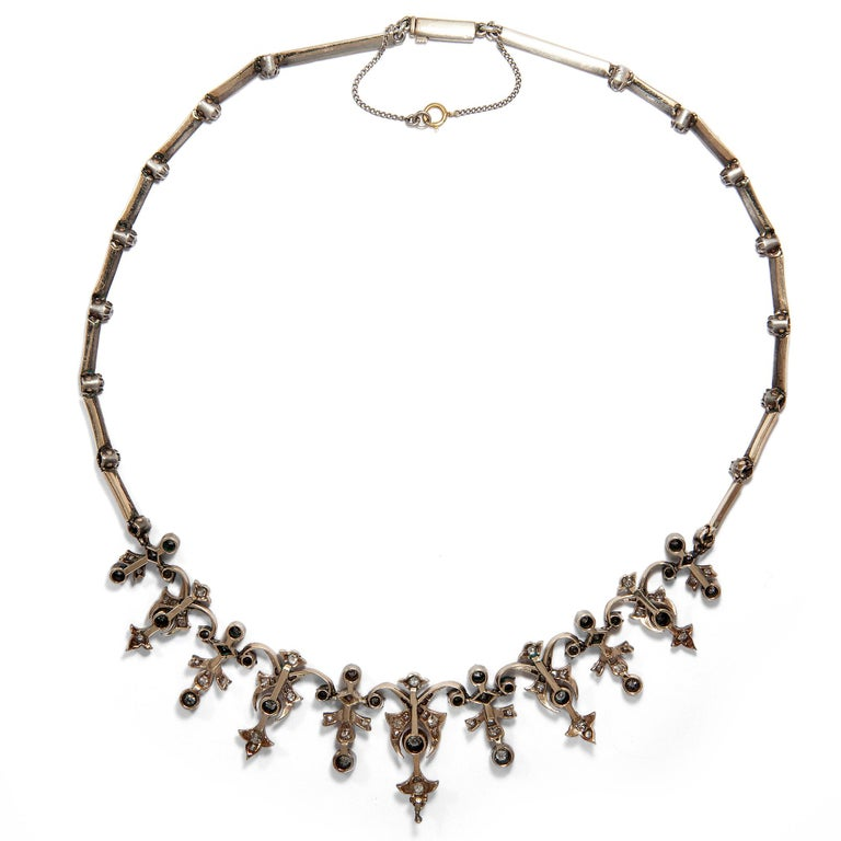 Women's or Men's Victorian 3.32 Carat Diamond and 14 Karat Gold Silver Necklace, circa 1880 For Sale