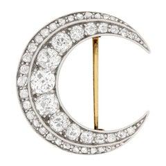Victorian 3.50ct Diamond Crescent Moon Brooch, c.1850s