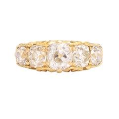 Victorian 3.52 Carat Cushion Cut Diamond 5-Stone Ring