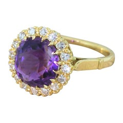 Victorian 3.66 Carat Amethyst and Diamond Cluster Ring