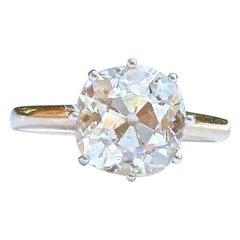 Victorian 3.73 Carat Old Mine Cut Diamond Engagement Ring