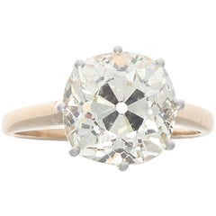 Victorian 3.73 Carat Old Mine Cut Diamond Gold Engagement Ring