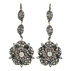 Victorian 3.75 Total Carat Diamond Flower and Leaf Earrings