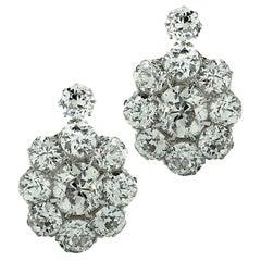 Victorian 3.8 Carat Old Mine Cut Diamond Flower Earrings