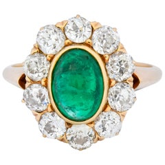 Victorian 3.80 Carat Colombian Emerald Diamond 14 Karat Gold Cluster Ring AGL