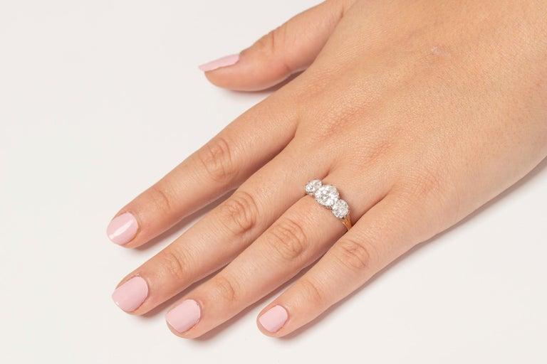 Victorian 3.80 Carat Three Stone Old Cut Diamond Ring c.1880s For Sale 3