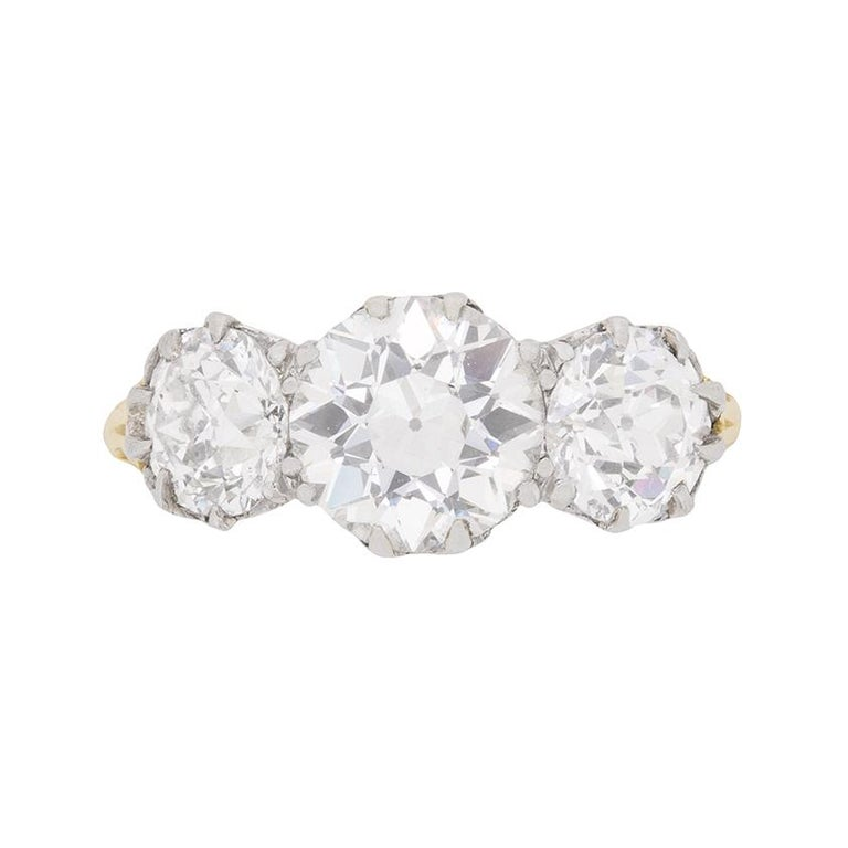 Victorian 3.80 Carat Three Stone Old Cut Diamond Ring c.1880s For Sale